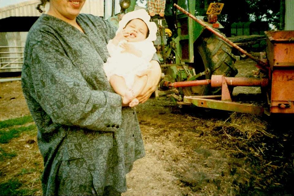 Newborn Martha and her mum on the farm